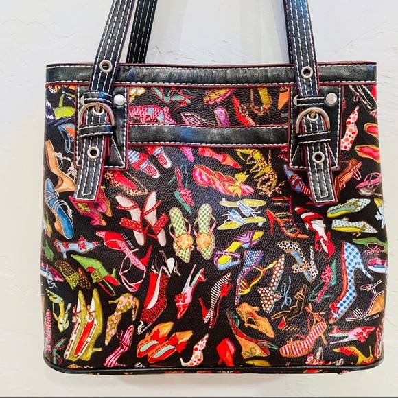 "Sydney Love Handbags - Sydney Love purse FUN shoe pattern ""stepping out"""